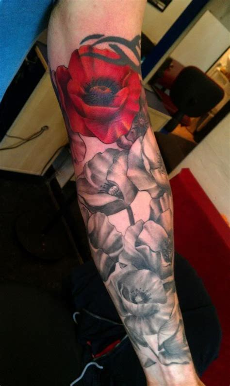 black and grey tattoo with red pin by nikki mccormick on sleeve pinterest