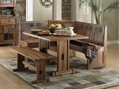 Small Kitchen Table With Bench Kitchen Rustic Dining Set With Trestle Table And Bench Small Space Hack Nook Dining