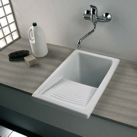 Kitchen Sink Cls Clearwater Small White Ceramic Laundry Sink 395 X 610mm Tap Warehouse