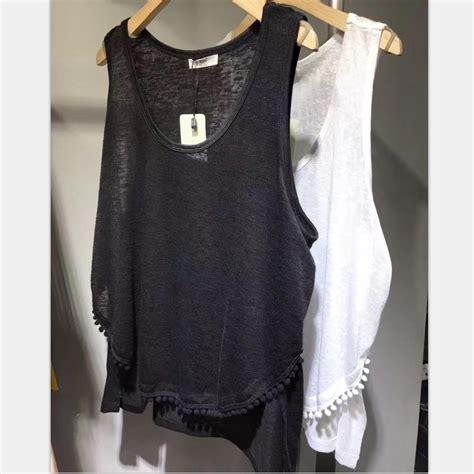 ladies boat neck tank tops 2017 summer tank tops with tassel hem women cotton black