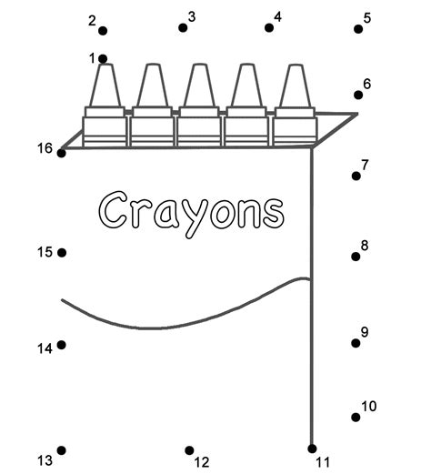 printable school bus dot to dot box of crayons connect the dots count by 1 s back to