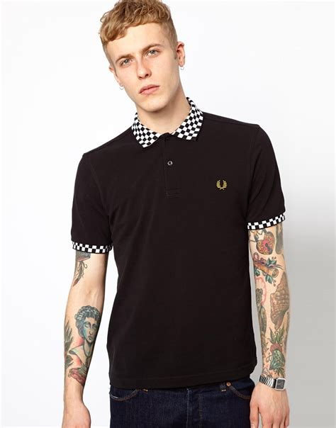 Polo Square Checked Black lyst fred perry polo with checkerboard collar in black