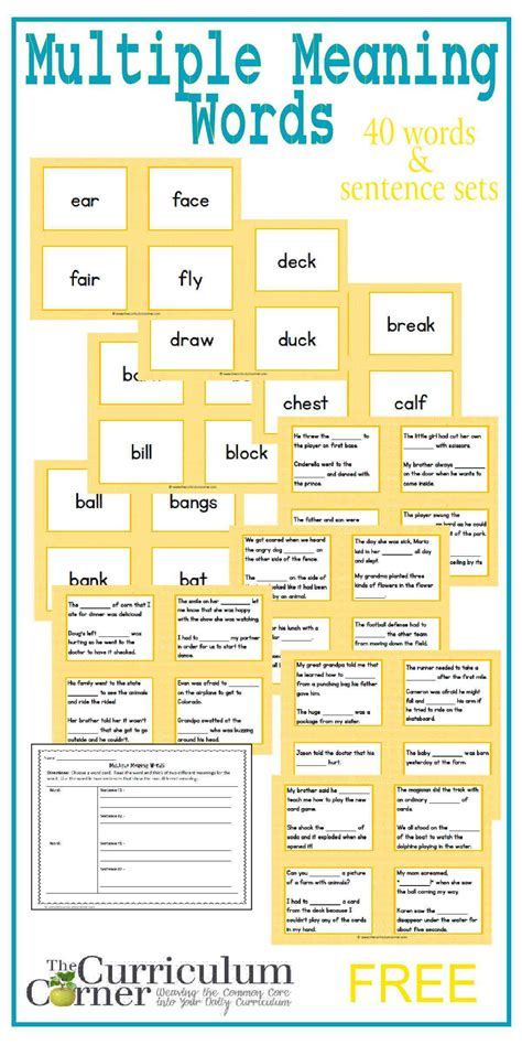 printable word definition games multiple meaning words matching game the curriculum