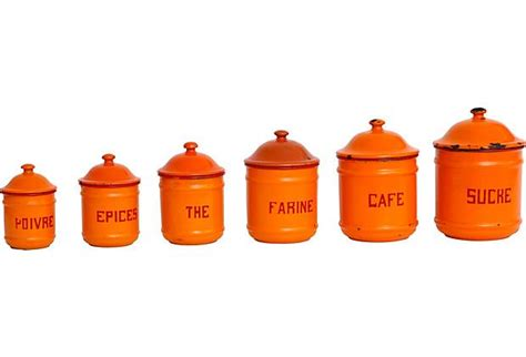 orange kitchen canisters set of 6