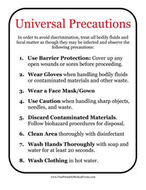 recommendations and universal precautions for the prevention of universal precautions refer to the standard procedures