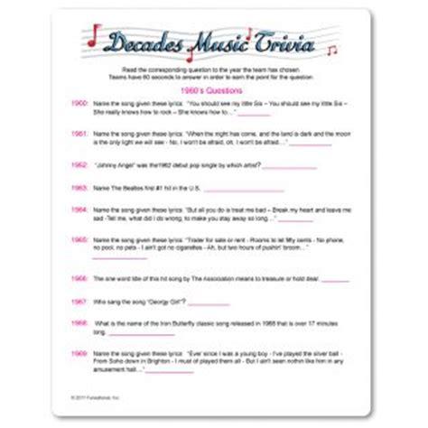 printable music quiz 2014 printable decades music trivia trivia pinterest