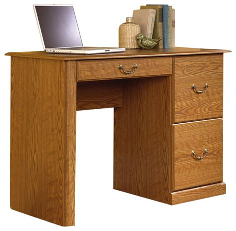 sauder orchard computer desk with hutch carolina oak sauder orchard small wood computer desk in carolina