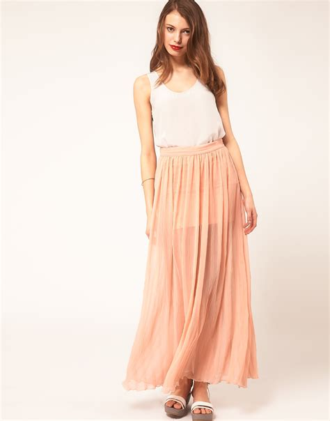 asos maxi skirts with pleats in pink lyst