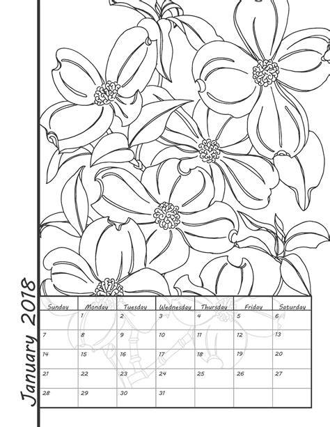 2018 coloring calendar monthly planner books printable coloring calendar 2018 calendar instant