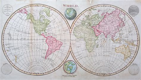 antique map   world twin hemispheres   sale