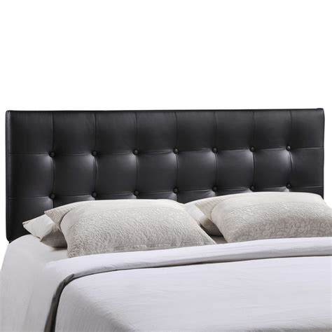 button tufted headboard queen emily modern button tufted queen faux leather headboard black