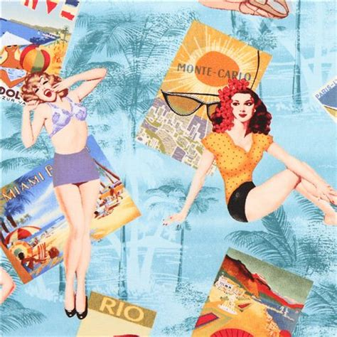 Vintage Poster 40x40cm Motif Kayu 53 blue pin up retro fabric by timeless