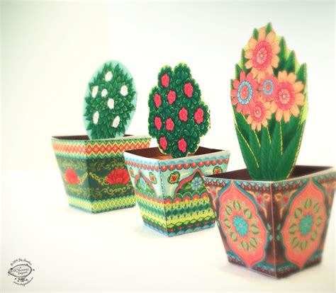 How To Make Paper Flower Pot - combo saver set of 3 mini flower pots papercraft diy paper