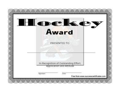 certificate of achievement in hockey one certificate