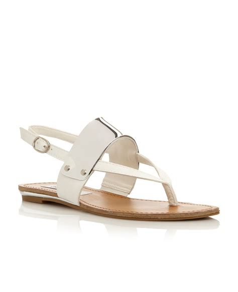 steve madden cuff metal plate trim sandals in white lyst