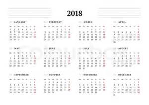 Calendar 2018 Printable Starting Monday Simple Calendar Template For 2018 Year Stationery Design