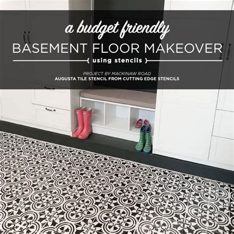 A Basement Floor Makeover Using A Tile Stencil   Stencil