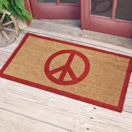coir peace sign doormat robert redford s sundance catalog - Peace Doormat