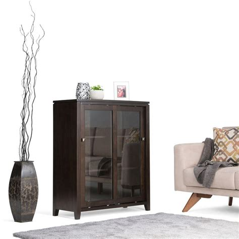 simpli home cosmopolitan brown storage cabinet int