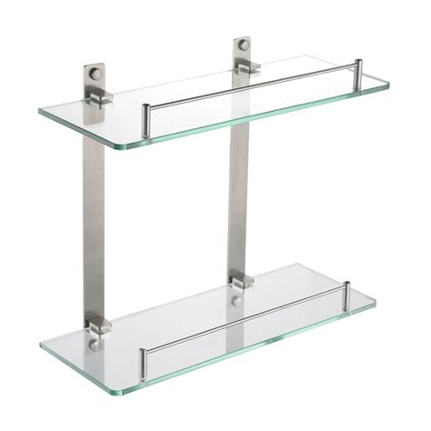 Glass Bathroom Stand Kes Bathroom 2 Tier Glass Shelf With Rail Aluminum And Thick Tempered Glass Shower