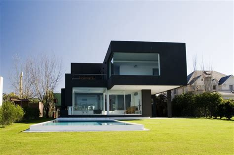 modern house backyard a black modern house in argentina