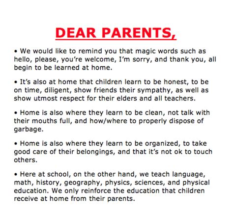 thank you letter to parents for college school asks parents to take responsibility letter goes