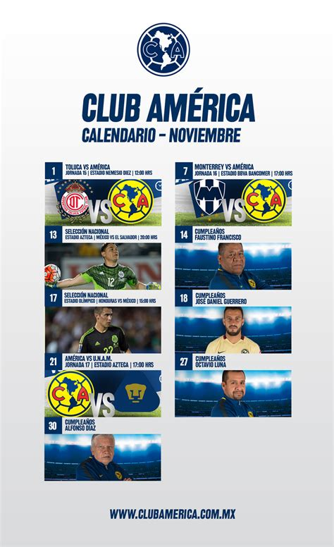 Calendario Club America Calendario Noviembre Club Am 233 Rica Sitio Oficial