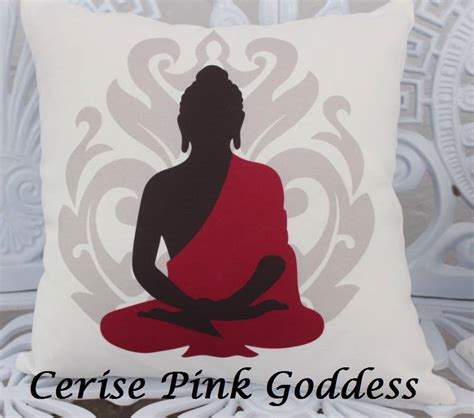 Cushion Cover Pray buddha cushion cover aqua pink grey meditation prayer