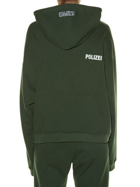 Polizei Hoodie vetements hooded polizei print sweatshirt in green lyst