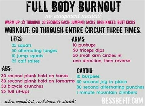 burnout no equipment needed workout sem