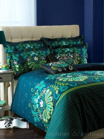 glamour teal luxury reversible printed duvet cove