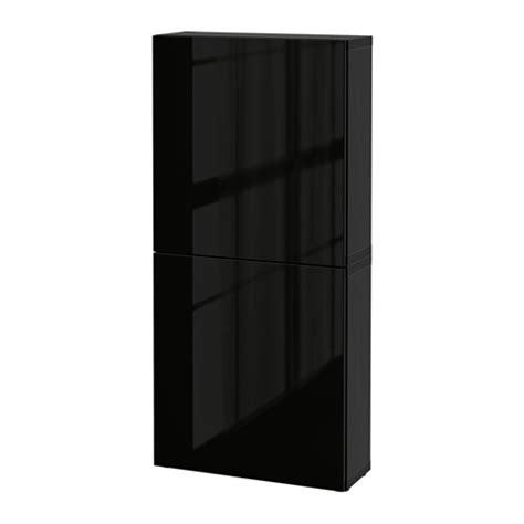 BESTÅ Wall cabinet with 2 doors Black brown/selsviken high