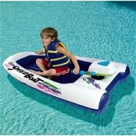 speed boat in pool dubiously named inflatable speed boat navigates pools at