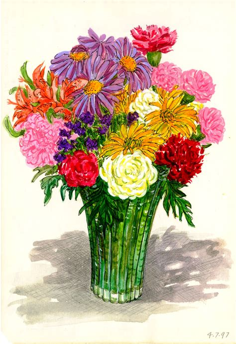 Watercolor Flowers In Vase by Sketches In Color Most Of It