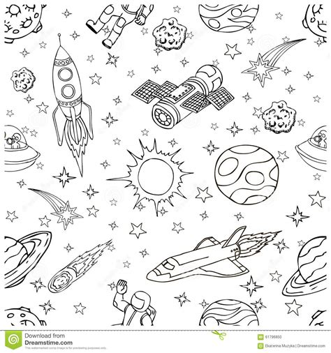doodles in outer space outer space doodles symbols and design elements stock vector image 61796850