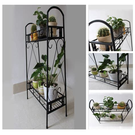 Metal Plant Rack by Two Tier Metal Plant Stand Garden Planter Holder Flower