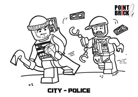 disegni da colorare lego city polizia  pompieri tee
