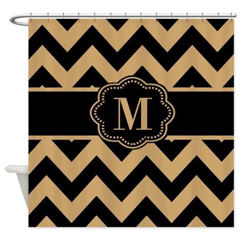 beige chevron shower curtain beige black chevron monogram shower curtain by