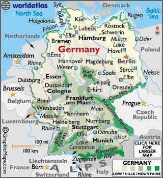 germany latitude, longitude, absolute and relative