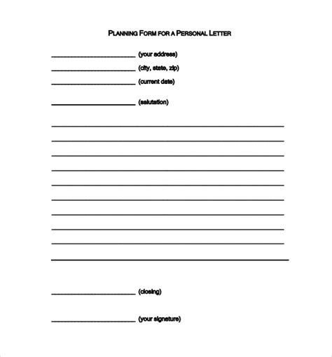 personal letter format 9 sles exles format