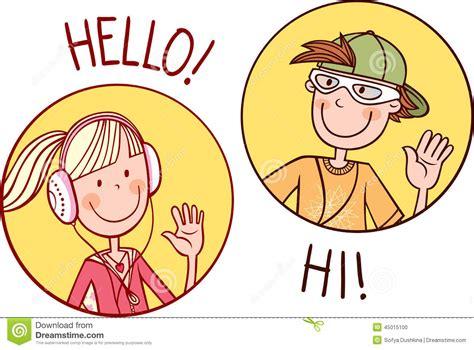 imagenes de ingles hello communicating teenagers stock vector illustration of cute
