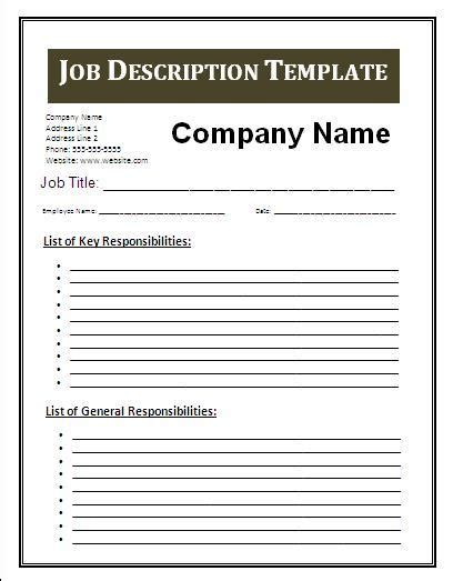 templates powerpoint job descriptions job description template free business templates