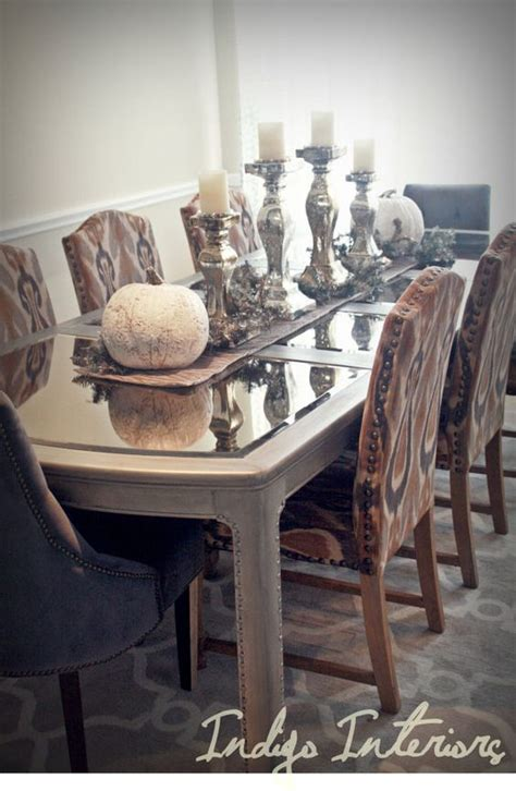 mirrored dining room table metallic silver and mercury