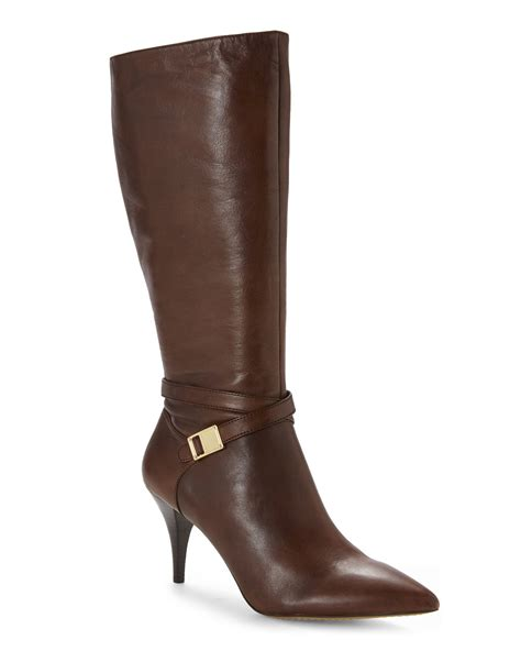 vince camuto boots vince camuto russet ofra wide calf boots in brown lyst