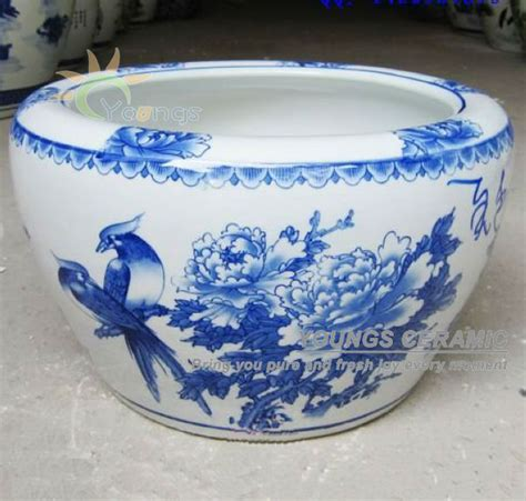 Reproduction Chinese Vases Large Chinese Blue And White Porcelain Fish Pot Indoor