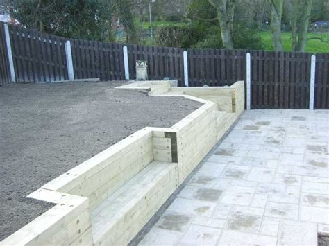 Garden Sleeper Wall by Railway Sleepers