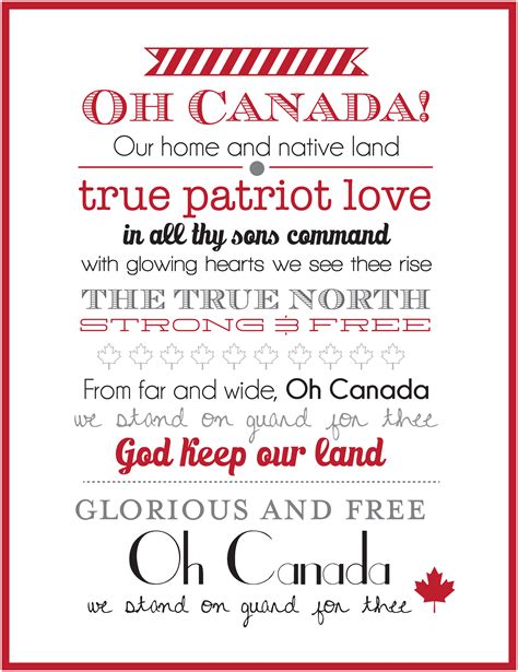 o canada lyrics printable version canada day home decor printables instagram sign sweet