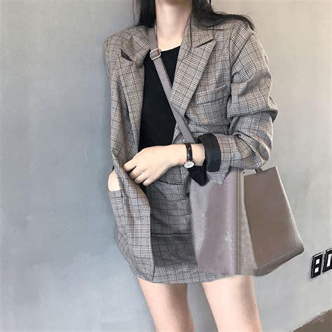 Mee2 Dress Jacket Set 2in1 itgirl shop plaid jacket 2 in 1 skirt set office style