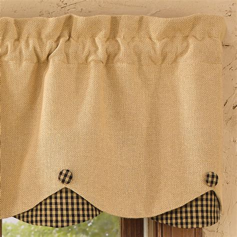 Scalloped Valance Curtains Burlap And Check Scalloped Curtain Valance By Park Designs