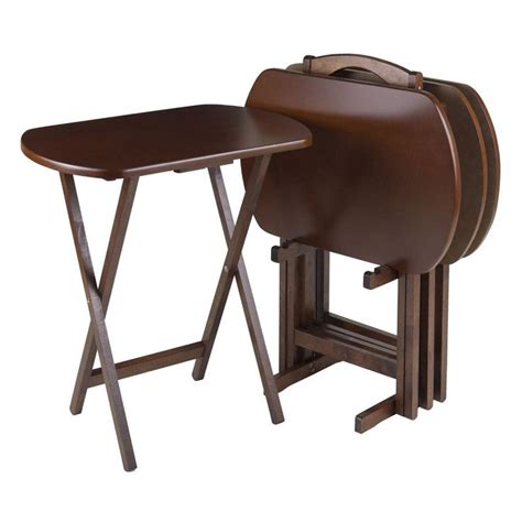 winsome wood tv table set dining folding trays holidays